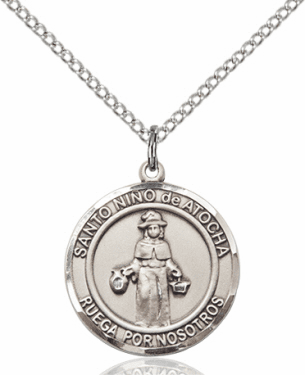 Santo Nino de Atocha/Infant of Prague Spanish Silver-filled Medal Necklace by Bliss Manufacturing
