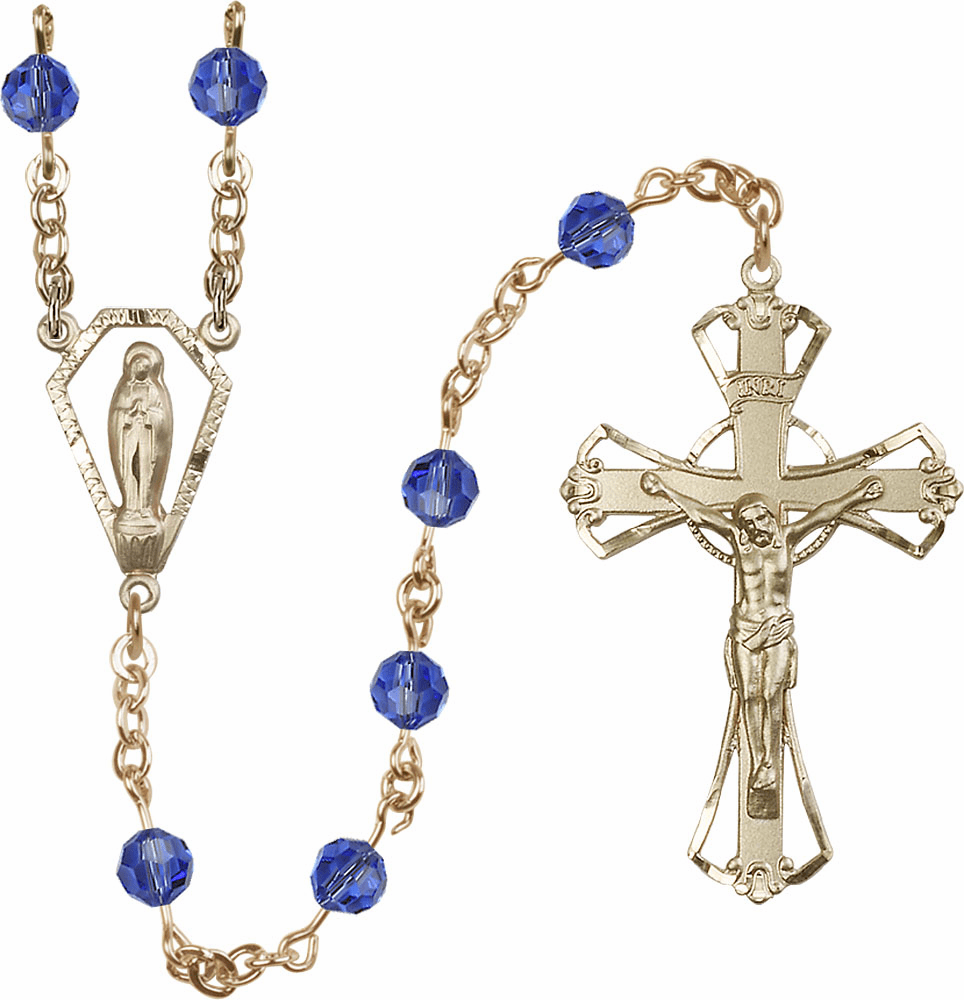 Sapphire 6mm Swarovski Crystal Praying Madonna Gold-filled Rosary by Bliss