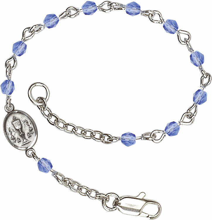 Sapphire Checo Fire Polished Beads w/Pewter Communion Chalice Charm Bracelet by Bliss Mfg