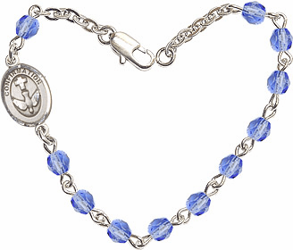 Sapphire Checo Fire Polished Beads w/Pewter Confirmation Charm Bracelet by Bliss Mfg