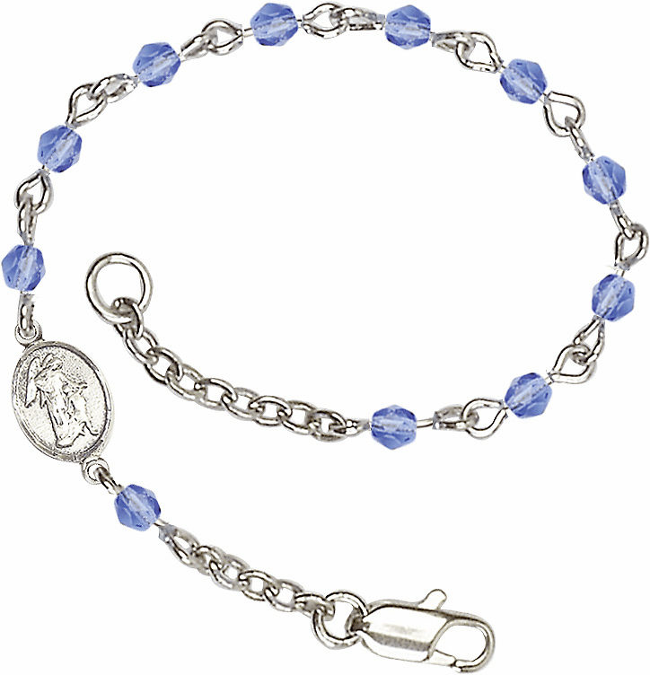 Sapphire Checo Fire Polished Beads w/Pewter Guardian Angel Charm Bracelet by Bliss Mfg