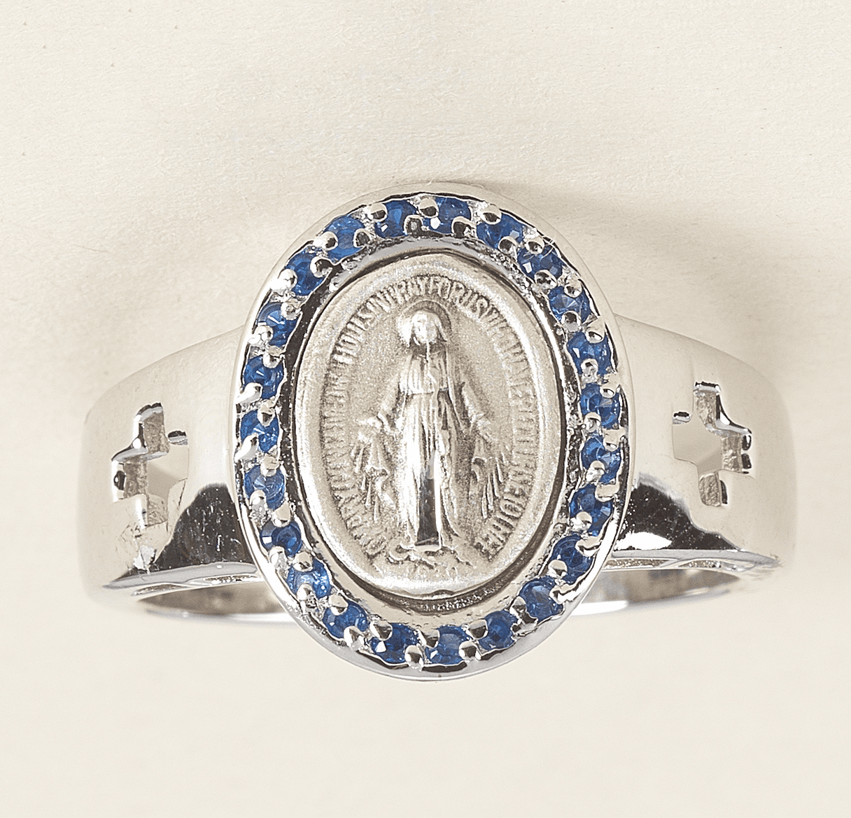 Sapphire Miraculous Medal Sterling Silver Ring