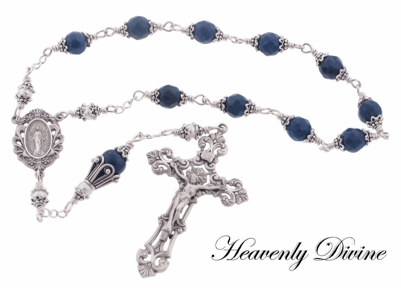 Sapphire Quartz & Pearl Sterling Silver Wire Wrapped Pocket Rosary by Heavenly Divine