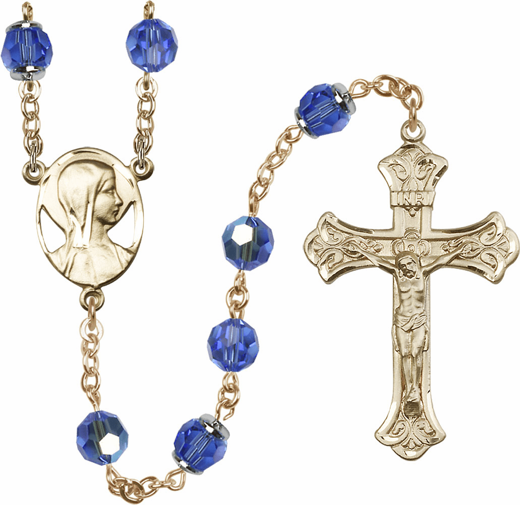Sapphire Swarovski 8mm Aurora Borealis Crystal 14kt Gold Rosary by Bliss