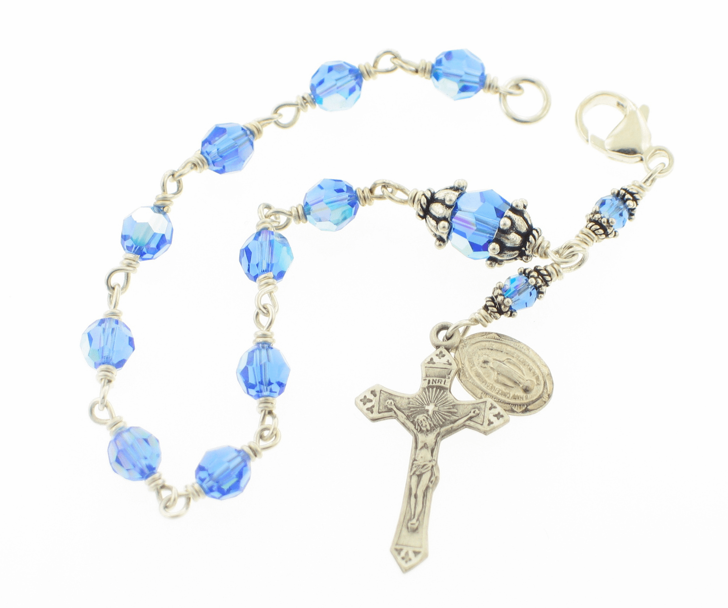 Sapphire Swarovski Crystal Wire Wrapped Sterling Silver Rosary Bracelet by Heavenly Divine