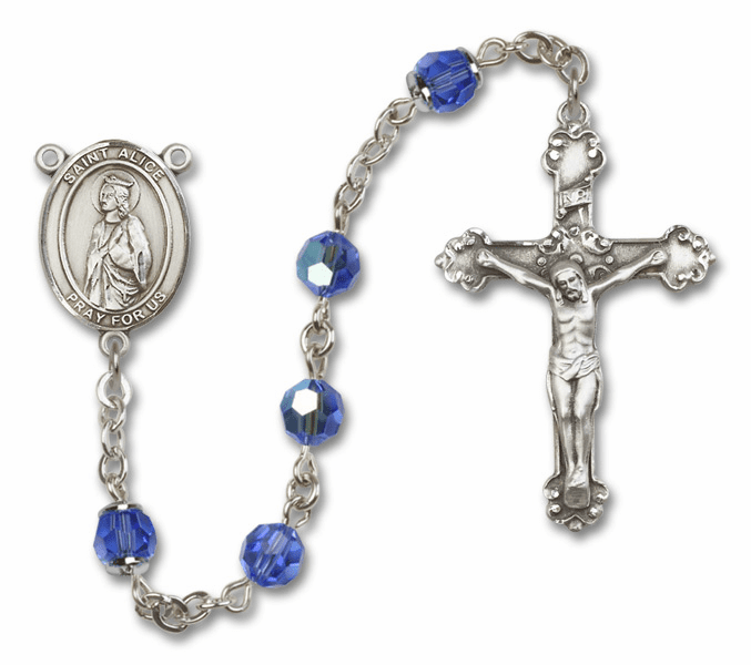 Sapphire Swarovski Patron Saint Sterling Silver Rosary by Bliss