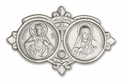 Bliss Sarced Heart of Jesus and Immaculate Heart Auto Visor Clips