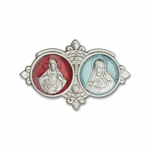 Bliss Epoxy Sarced Heart of Jesus and Immaculate Heart Car Visor Clips