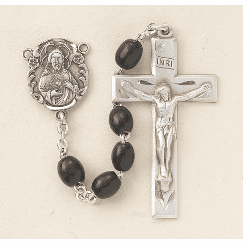 Scapular Black Polished Oval Boxwood Rosary by HMH Religious