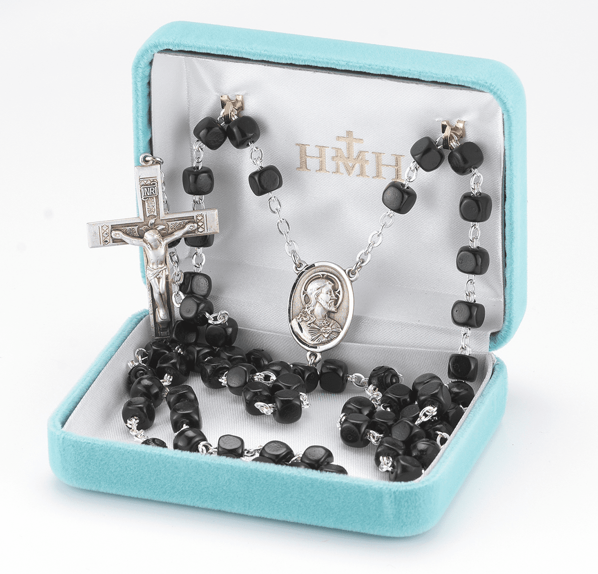 Scapular Black Square Coco Sterling Silver Rosary by HMH Religious