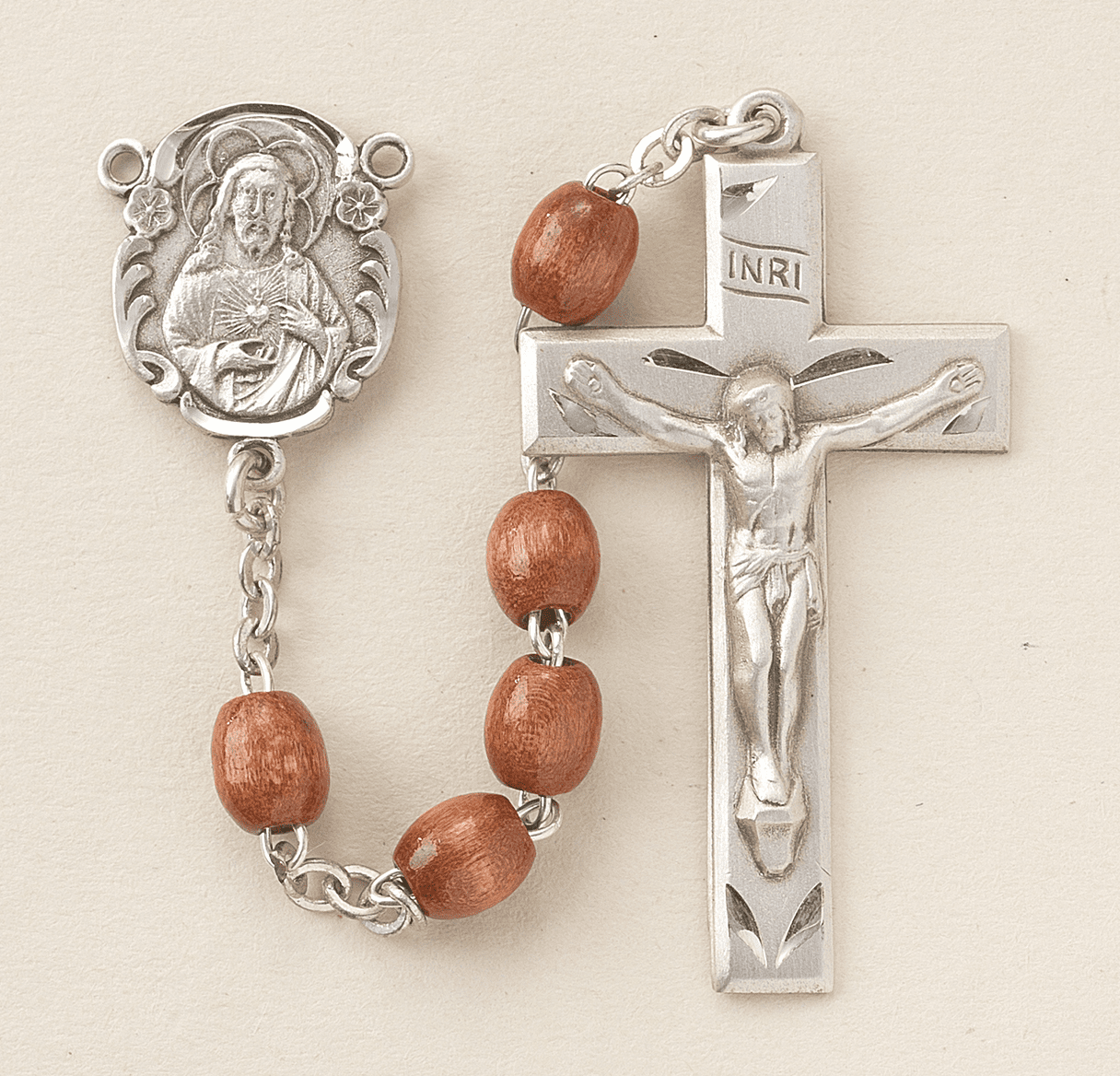 Scapular Brown Polished Oval Boxwood Rosary by HMH Religious