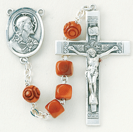 Scapular Brown Square Coco Sterling Silver Rosary by HMH Religious