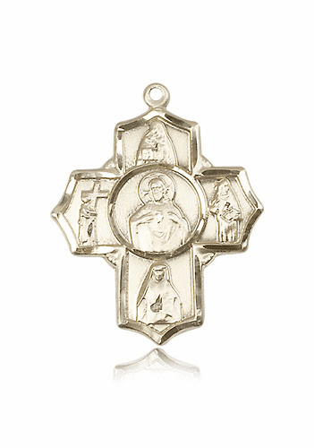 Scapular Devotional Four-Way Cross 14kt Gold Pendant Necklace by Bliss