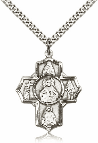 Scapular Four-Way Cross Sterling Silver Pendant Necklace by Bliss