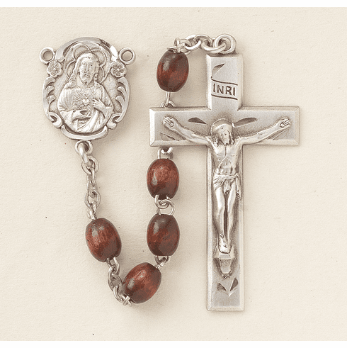 Scapular Maroon Polished Oval Boxwood Rosary by HMH Religious