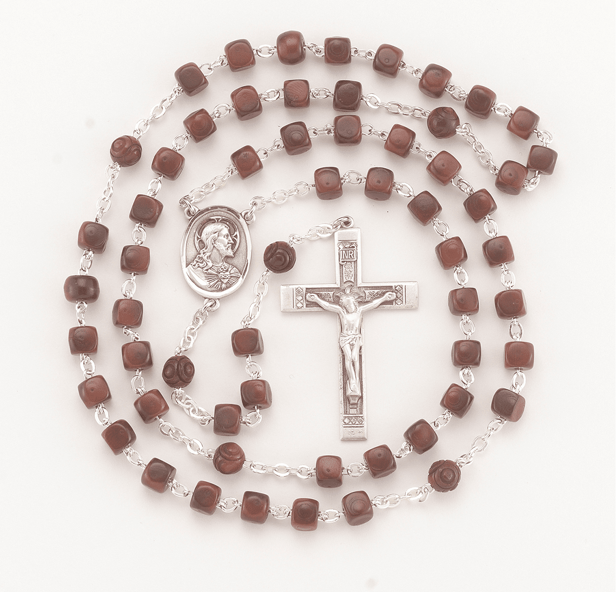 Scapular Maroon Square Coco Sterling Silver Rosary by HMH Religious