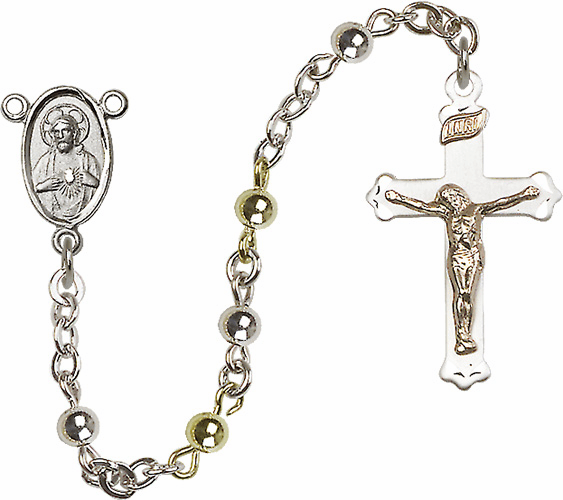 Scapular Sacred Heart 4mm Sterling Silver and Gold-filled Prayer Rosary
