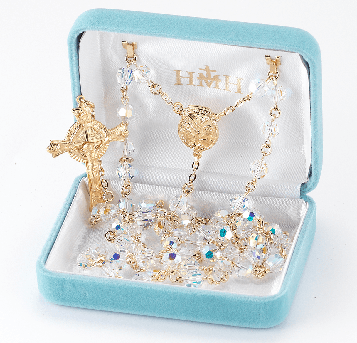 Scapular Swarovski Crystal Gold over Sterling Silver Catholic Rosary by HMH Religious