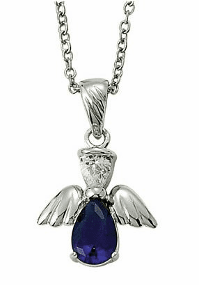 September Birthstone Angel Wing Sterling Silver Necklace