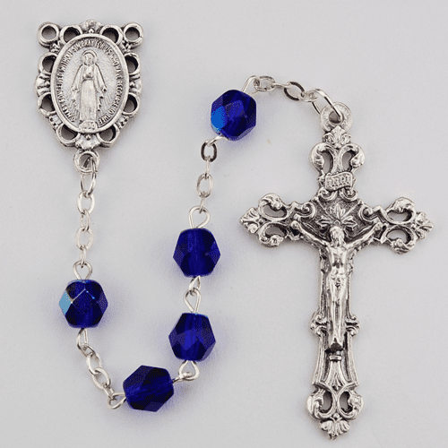 September Sapphire Birthstone Crystal Prayer Rosary w/Scallop Miraculous by McVan