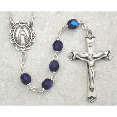 September Sapphire Birthstone Crystal Sterling Silver Prayer Rosary by McVan