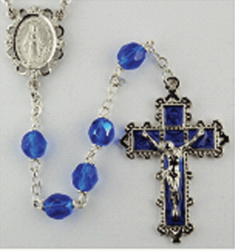 September Sapphire Crystal Birthstone Prayer Rosary by McVan