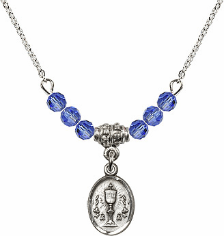 September Sapphire Oval Chalice  Crystal Bead Necklace by Bliss Mfg