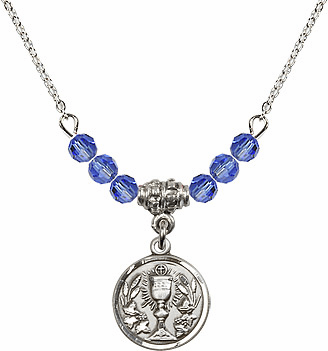 September Sapphire Round Chalice Charm Crystal Bead Necklace by Bliss Mfg