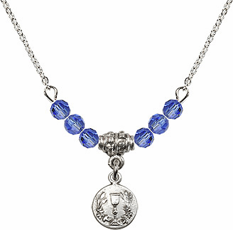 September Sapphire Round Chalice Crystal Bead Necklace by Bliss Mfg