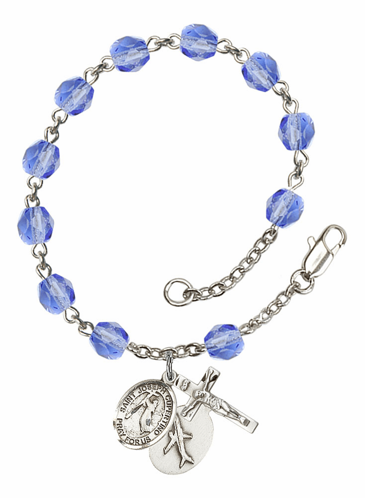 September Sapphire St Joseph of Cupertino Airplane Birthstone Rosary Bracelet by Bliss