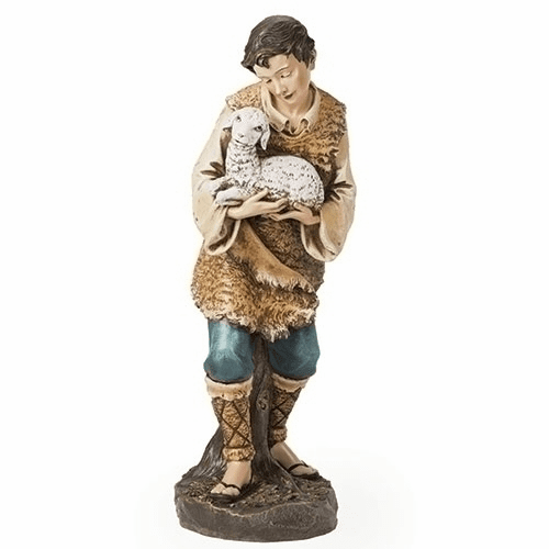 Shepherd and Lamb 39 inch Scale Colored Nativity Set Figure