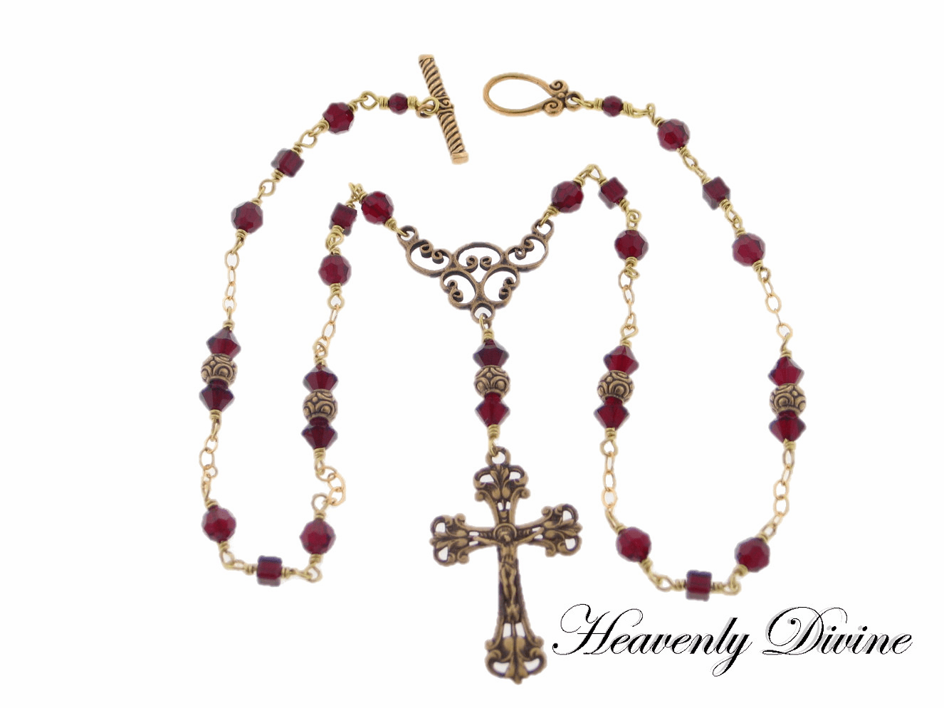 Siam Red Swarovski Crystals Crucifix Wire-Wrapped Necklace by Heavenly Divine