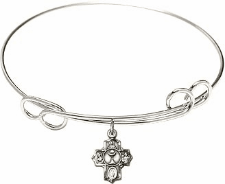 Silver Communion Loop 5-Way Cross Bangle Charm Bracelet by Bliss