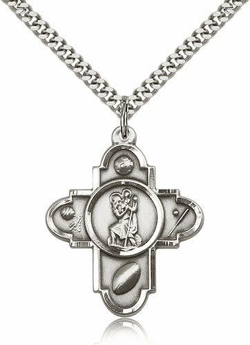 Silver-filled St. Christopher 5 Way Sport Cross Medal by Bliss
