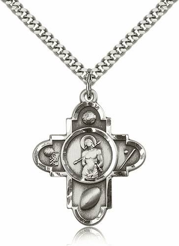 St Sebastian Silver-filled 5 Way Sport Medal Necklace by Bliss