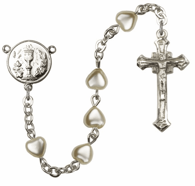 Silver First Holy Communion Rosary with Pearl Heart-Shape Beads by Bliss