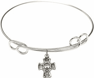 Silver Loop Bangle 5-Way Cross Sterling Silver Holy Spirit Charm Bracelet by Bliss