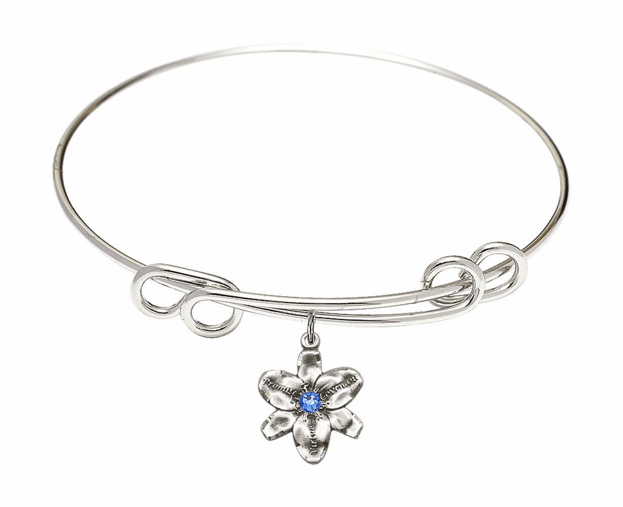 Silver Loop Chastity Flower Birthstone Charm Bangle Bracelet by Bliss