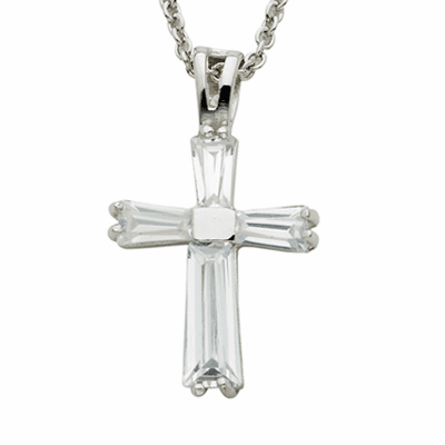 Singer April Birthstone Cross Necklace