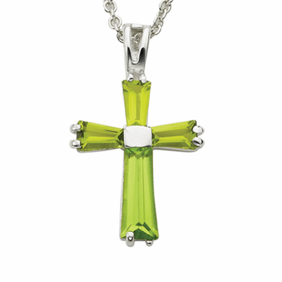 Singer August Peridot Birthstone Cross Necklace
