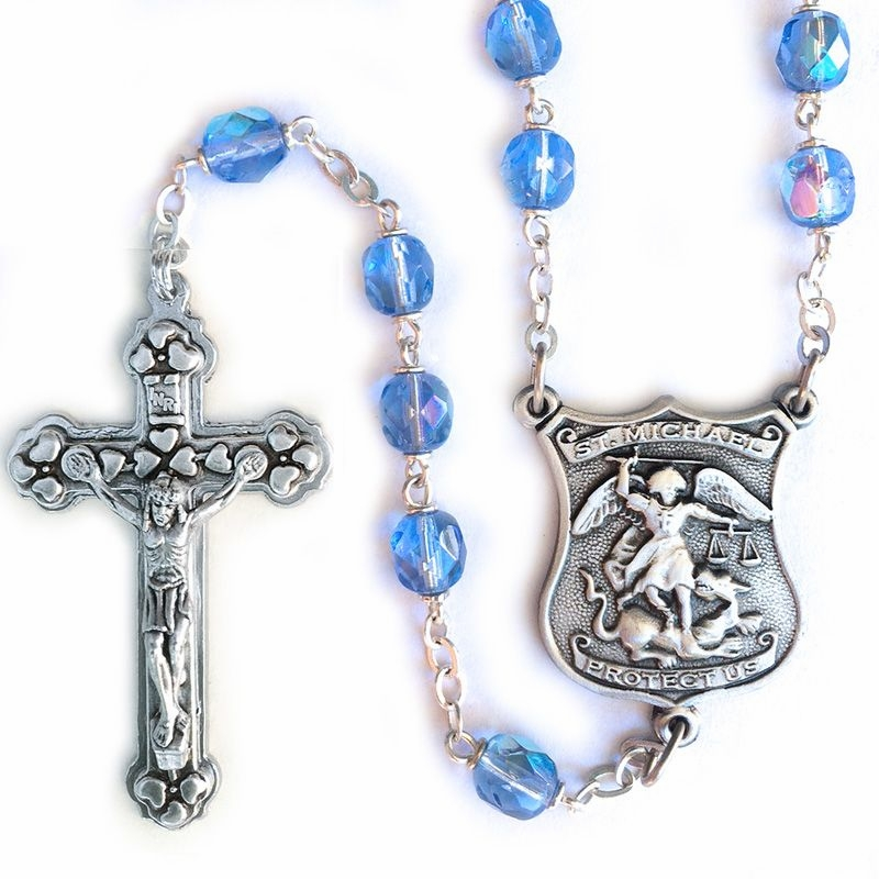 Singer Blue Glass Crystal Beads Rosary with St Michael of Police Officers Center