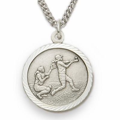 Singer Girls Softball Medal with St Christopher Sterling Silver Necklace