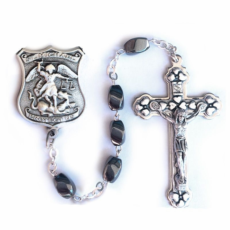 Singer Hematite Beads Rosary with St Michael of Police Officers Center