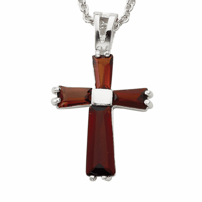 Singer January Garnet Birthstone Cross Necklace