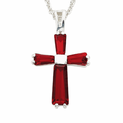 Singer July Ruby Birthstone Cross Necklace