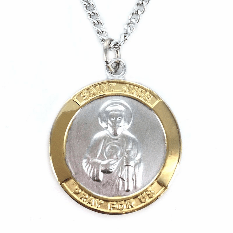 Singer Large Saint Jude Thaddeus Two-Tone Sterling Silver Necklace