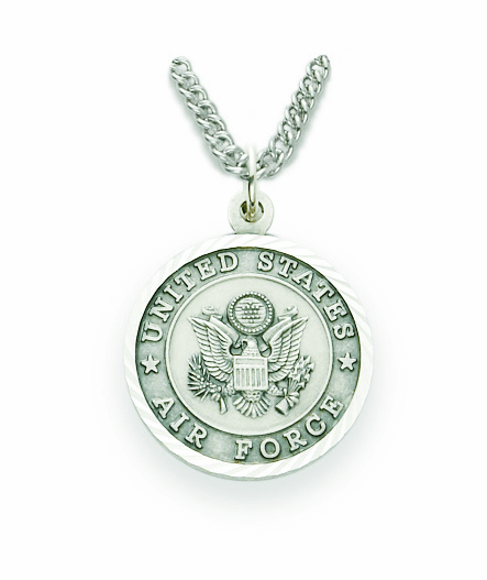 Singer Medium St Michael US Air Force Nickel Silver Medal Necklace