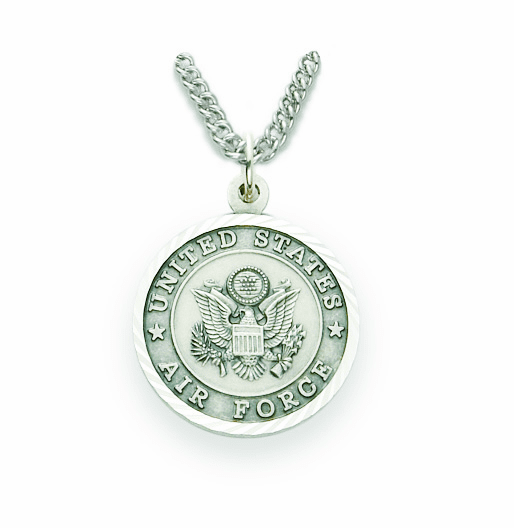 Singer Medium St Michael US Air Force Sterling Silver Medal Necklace