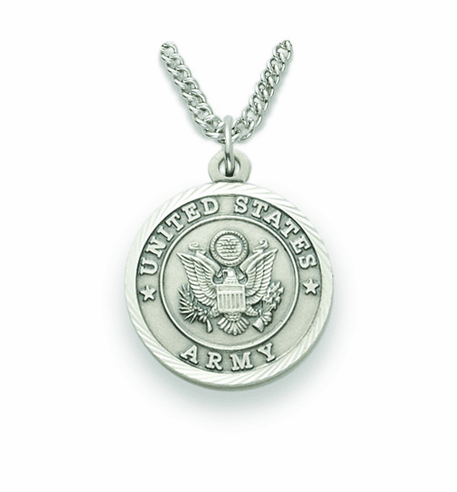 Singer Medium St Michael US Army Nickel Silver Medal Necklace