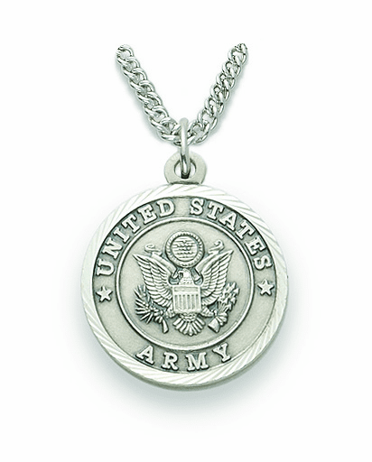 Singer Medium St Michael US Army Sterling Silver Medal Necklace